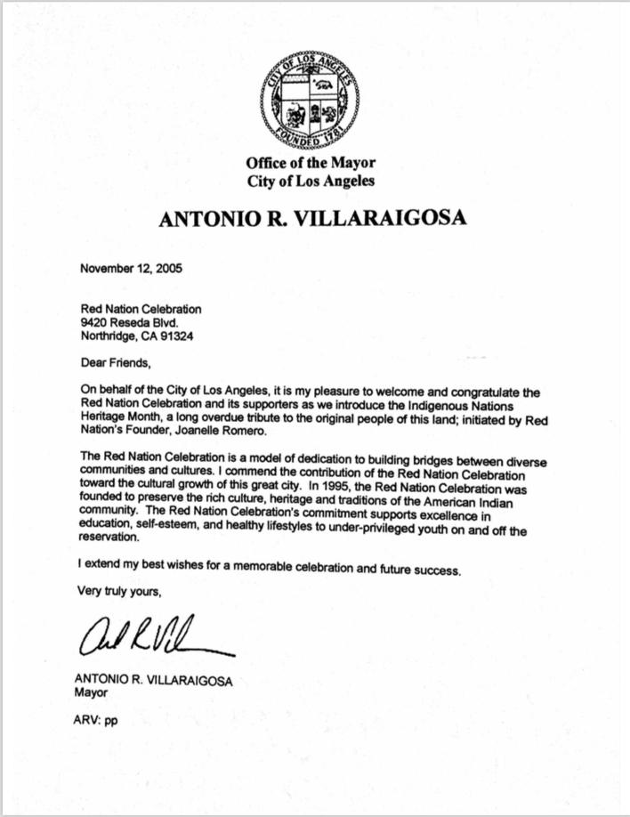 Acknowledgment Letter from Mayor Antonio R. Villaraigosa 2005